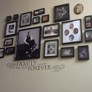 Our family picture wall on the stairs