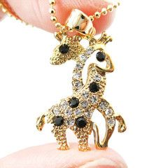 Giraffes with Necks Entwined Animal Shaped Pendant Necklace in Gold with Rhinestones $11.50 #giraffes #animals #jewelry #earrings #cute
