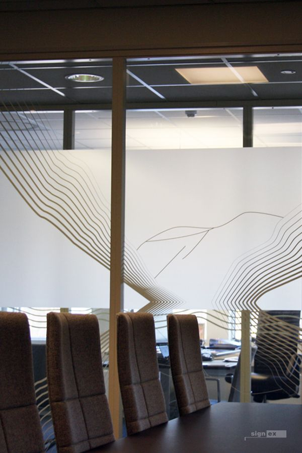 Glass film meeting room, frosted and abstract stripes