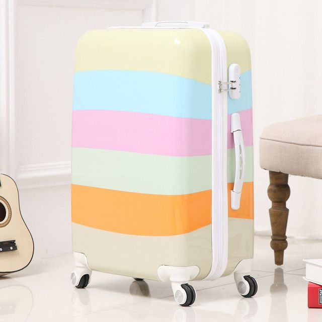 High Quality 24''Women luggage travel bags trolley Girls Rolling Luggage ABS Pull Rod trunk rolling spinner wheels boarding bag