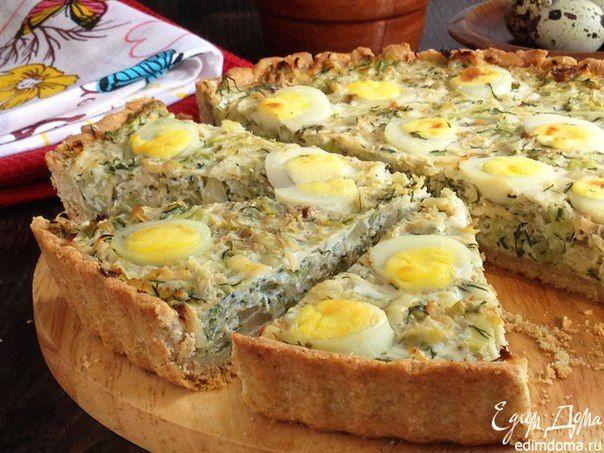 Киш из цельнозерновой муки с капустой и яйцом. Полезный рецепт вкусного блюда французской кухни. #edimdoma #cookery #recipe
