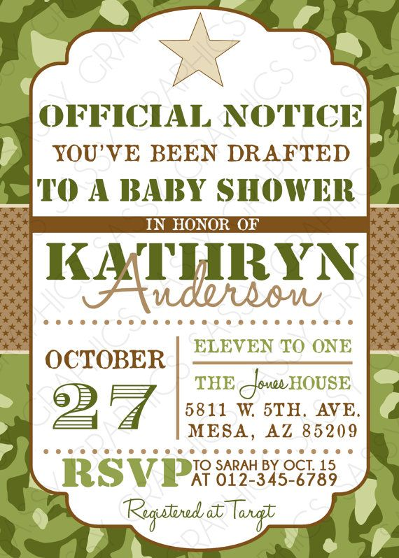 Boys Baby Shower Invitation  Army Camouflauge Green by Sassygfx, $13.00