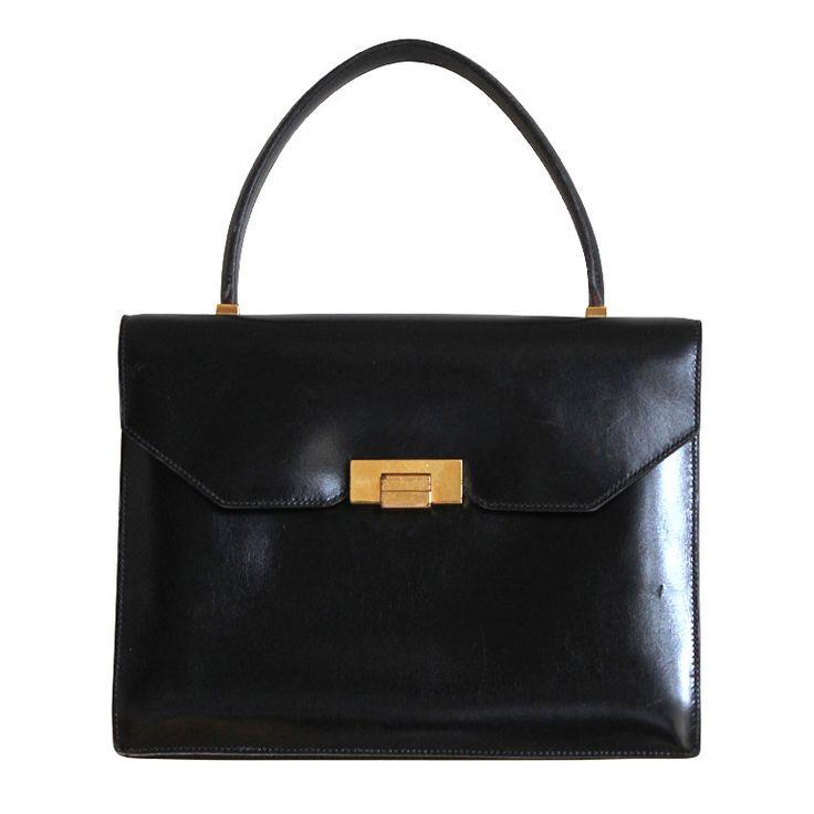 1960\u0026#39;s HERMES black box leather top handle bag | Hermes, Vintage ...