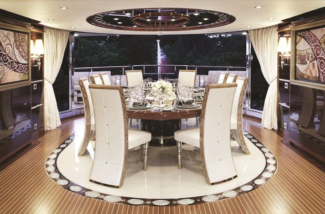 """""""Diamonds-Are-Forever"""" Upper-Saloon-Dining (Benetti Yachts)"""