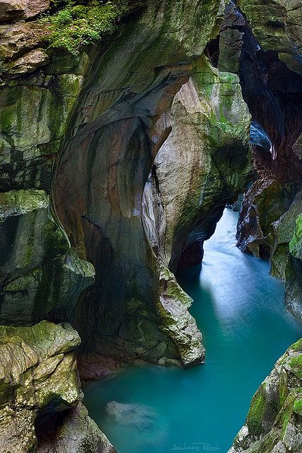 The Dark Gorge, Lammeröfen near Salzburg, Austria ... moss covered rock and blue water