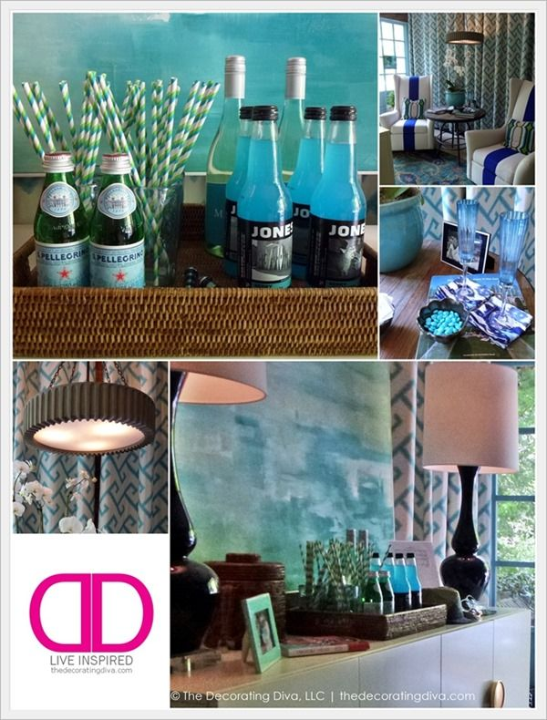 Refreshing Blue-Green Color Scheme  for Adamsleigh Showhouse Indoor Porch Designed by Leslie Moore | The Decorating Diva, LLCDecor Divas, Bar Decor Ideas