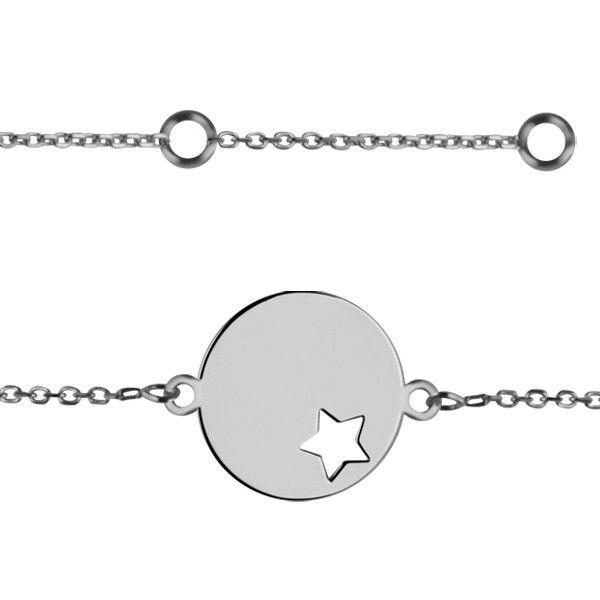 Bracelet identité médaille étoile Or blanc 375°°° - PM - Bébé & Enfant…