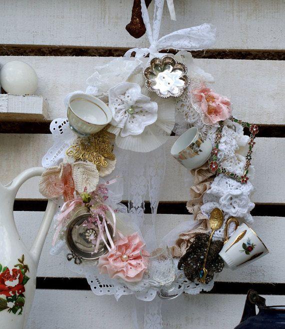 Vintage tea cup wreath.Shabby chic wall decor.Bone China teacup wreath.Cottage chic decor.Victorian wreath.Tea decor.Tea party decor