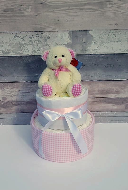 Pink Gingham Nappy Cake for Baby Girl~Diaper Cake for Baby Shower~New Baby…