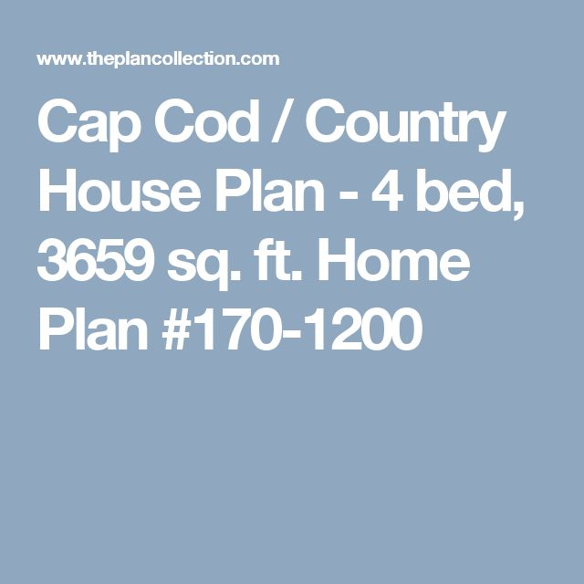 Cap Cod / Country House Plan - 4 bed, 3659 sq. ft. Home Plan #170-1200