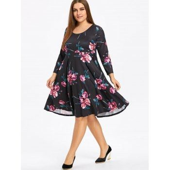 Floral Plus Size Skater Dress with Sleeves - BLACK XL