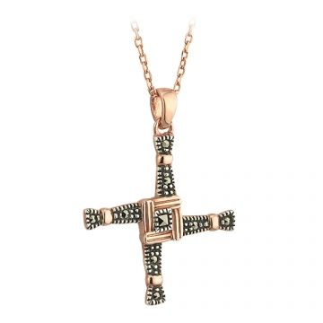 "Irish Necklace - 18k Rose Gold on Silver Marcasite St. Bridget's Cross Pendant with Chain. This Irish Necklace features a captivating design of the beloved St. Bridget's Cross. Pendant: 1"" x 1"" on an 18"" chain. Made in Ireland by Solvar and hallmarked by the Assay Office in Dublin Castle."