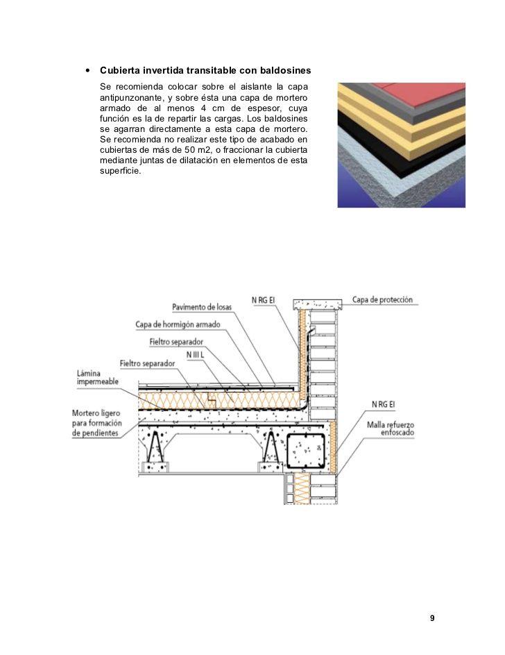 •   Cubierta invertida transitable con baldosines    Se recomienda colocar sobre el aislante la capa    antipunzonante, y ...