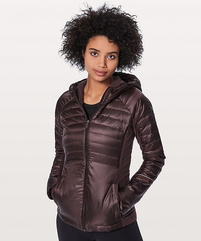 dfbf4d570 Lululemon Down for a run jacket II. Color: black cherry. Size: 10 ...