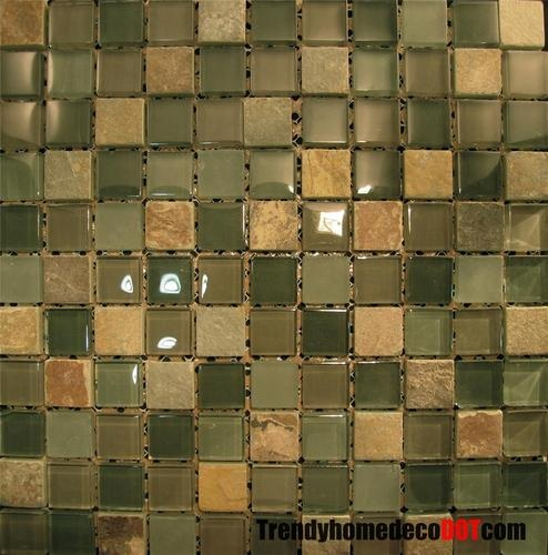 1SF Green Natural Stone Blend Glass Mosaic Tile Kitchen Backsplash B