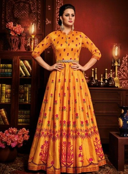 e372fcda86 Orange floral printed party wear long anarkali frock in art silk F17062