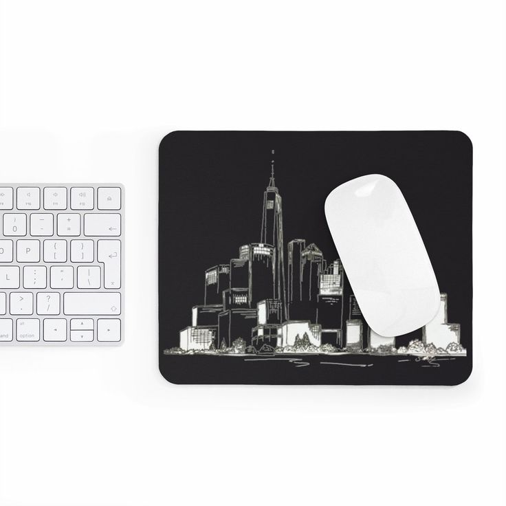 Excited to share the latest addition to my #etsy shop: Black and white mousepad, New York City Mouse pad, modern mousepad, skyline mouse mat, office desk mat, desk accessories, co worker gift http://etsy.me/2FrPcZi #geekery #computer #accessories #black #birthday #whit