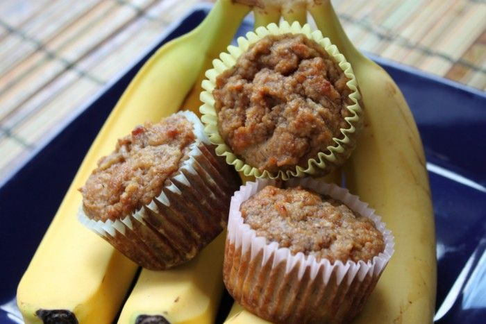 Banana Muffins - made with bananas, applesauce, eggs, honey, coconut flour, almond flour, salt, and baking soda