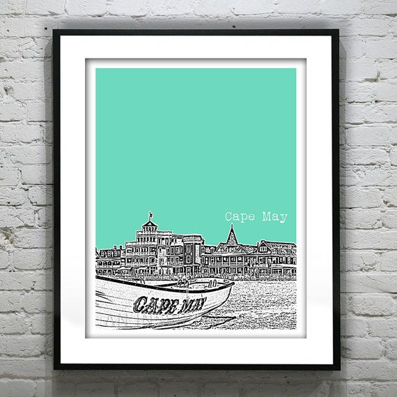 Can ask for CMP Cape May New Jersey Poster Print Art NJ Shore by AnInspiredImage
