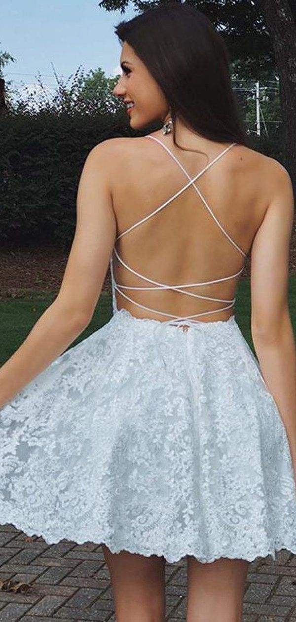 Stunning Lace Spaghetti Strap Lace Up Back Backless Homecoming Dresses,BD0188