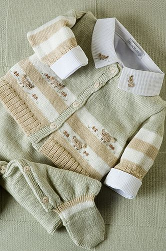 Conjunto tricô verde, bege e branco, com body coordenado!