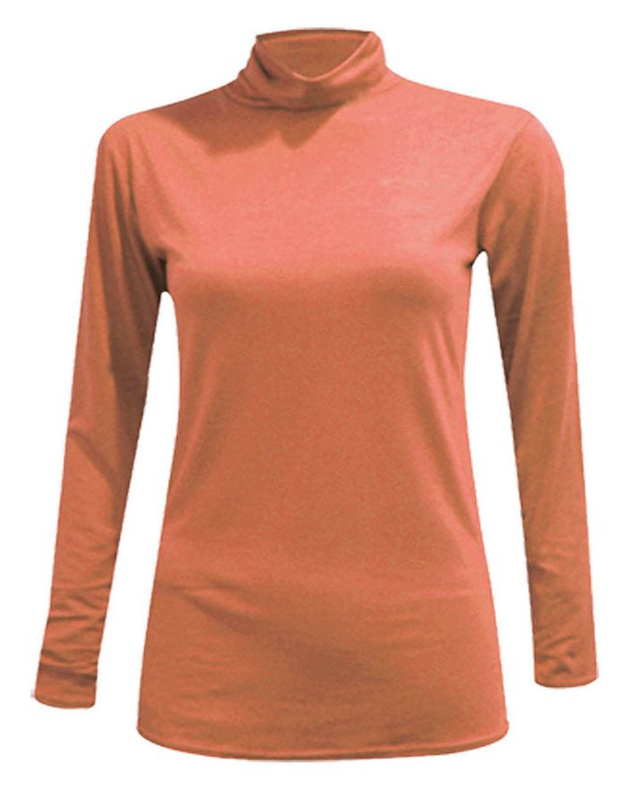 Womens Turtle Neck Polo Neck Long Sleeve Stretch T Shirt Top Jumper