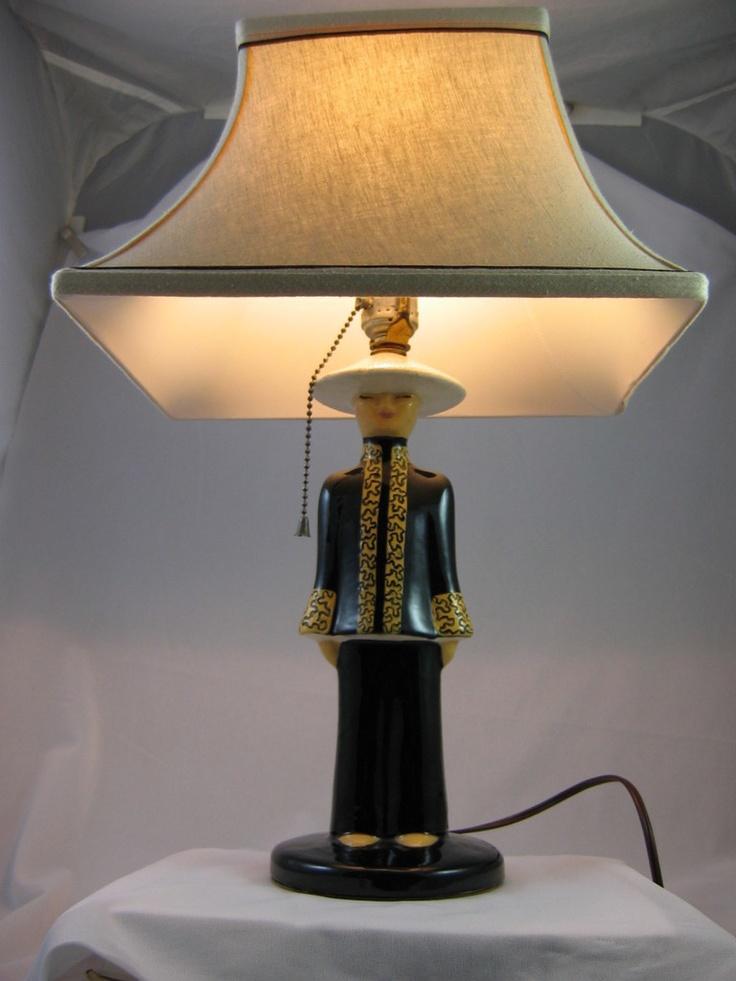 1950s Asian Chinese Pair Of Hedi Schoop Lamps W Original