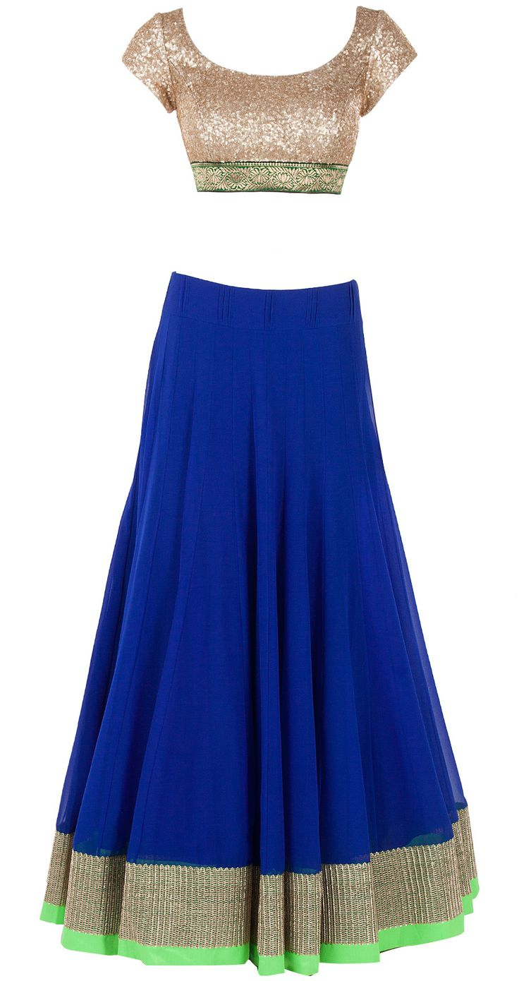 Royal blue flared lehenga set available only at Pernia's Pop-Up Shop. Had a pretty pink dupatta which didnt pin