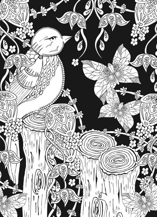 From: Creative Haven Midnight Forest Coloring Book: Animal Designs on a Dramatic Black Background | Dover Publications