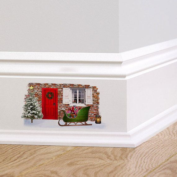 Christmas Fairy Cottage Door Wall Decal V2 Sticker Mural Skirting board sticker Quirky Wall Sticker Decorative Wreath Christmas Tree Sleigh