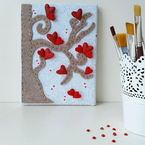 quadro 3D albero della vita con cuori rossi  quadro a rilievo