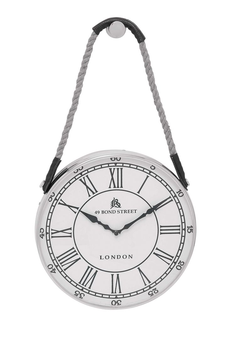 Metal Hanging Wall Clock With Attached Rope Fitted With Leather Straps (Small)