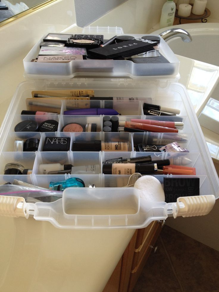 Organizing makeup in a scrapbooking case!