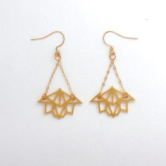 Gold Plated Brass Geometric Lotus Earrings by SunkenCityNYC, $80.00