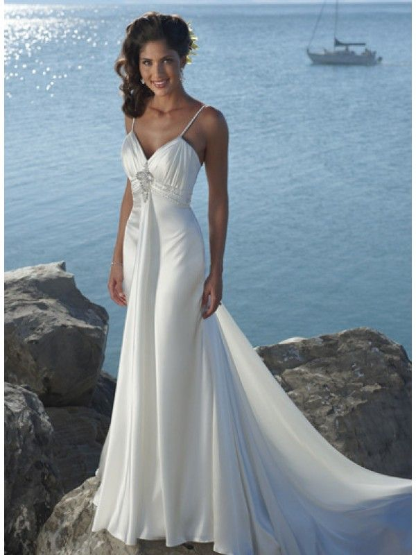 Ivory V Neck Straps Beaded Satin Beach Destination Wedding Dress Weddings