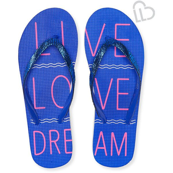 Aeropostale LLD Signature Wave Flip-Flop ($10) ❤ liked on Polyvore featuring shoes, sandals, flip flops, intense blue neon, evening sandals, aeropostale shoes, glitter flip flops, neon sandals and aeropostale flip flops