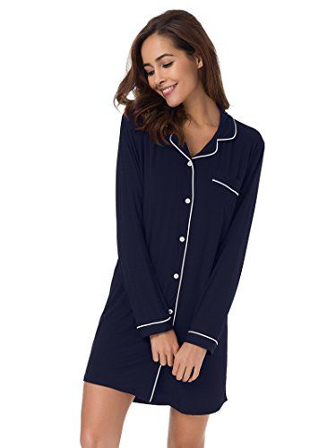 e55e34e1d2db SIORO Womens Sleep Shirts Long Sleeve Pajama Dress Ladies Pajama Top Dress  Baggy Style Nightgown Sleeping Shirt Sleepwear Knee Length Soft Loungewear  Ladies ...