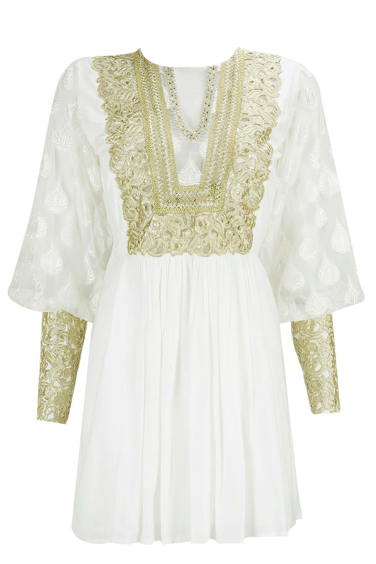 Ivory embroidered pleated dress available only at Pernia's Pop-Up Shop.
