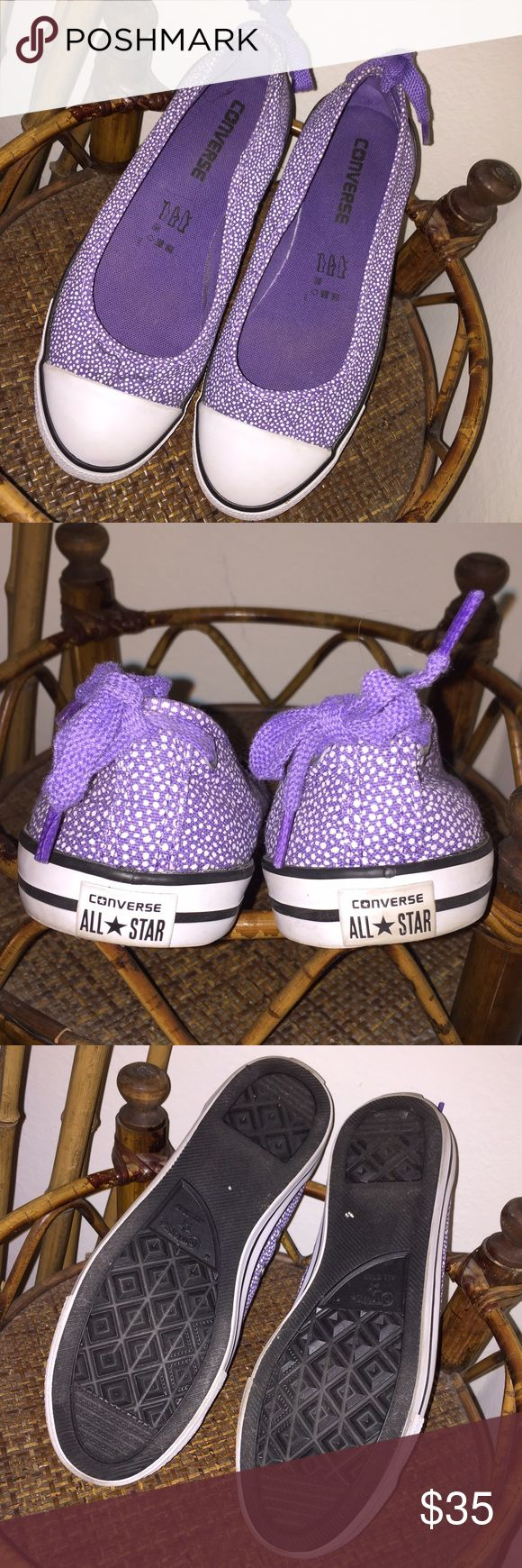 Converse Ballerina Flats ⬇️PRICE DROP⬇️Converse Ballerina Flat in size 7 come in LIKE NEW condition! Only worn once. Sold out everywhere!!! Super flirty and feminine purple and white ballet style flats with shoe string tie bow at the heels. In almost perfect condition! The right toe's fabric has a pattern in it but only noticeable when looking for it. Such a great shoe!❤️ Converse Shoes Flats & Loafers
