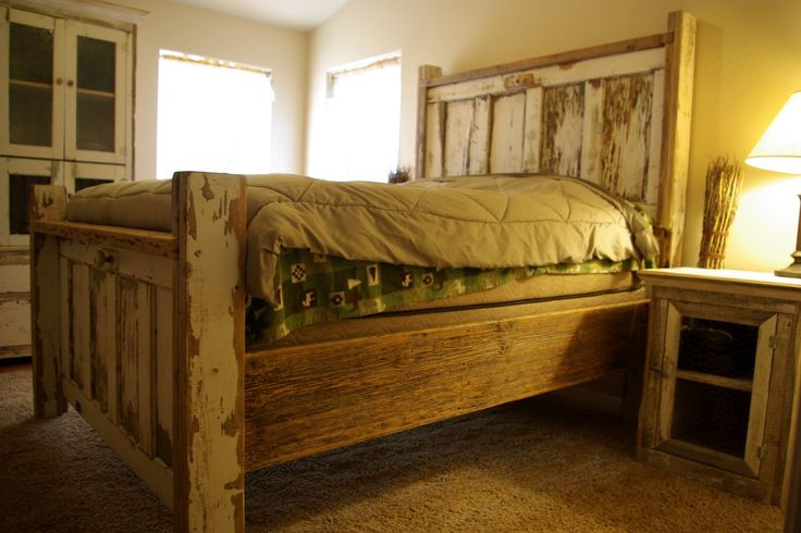 Reclaimed Rustics: Vintage Door Headboard, old kitchen cabinet doors supplied by client & barn wood pieced together this bedroom set...very happy client!