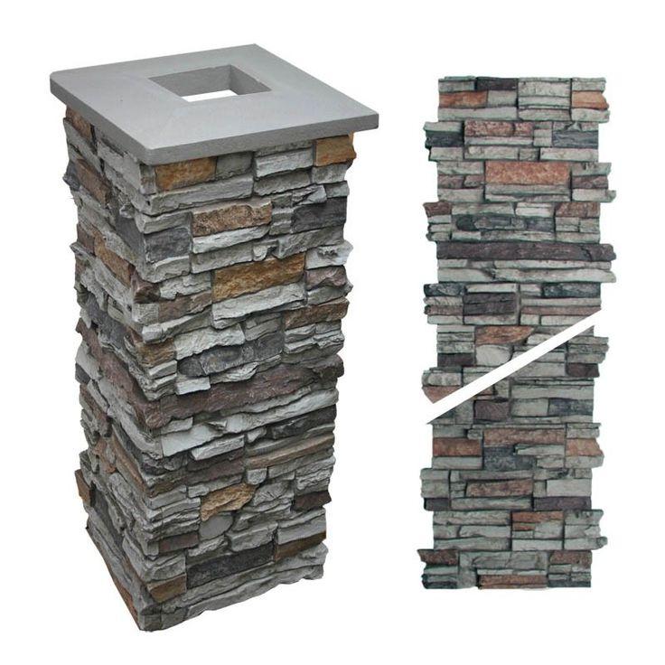 "Faux Stone Column - Post Wraps - Gray 36"""