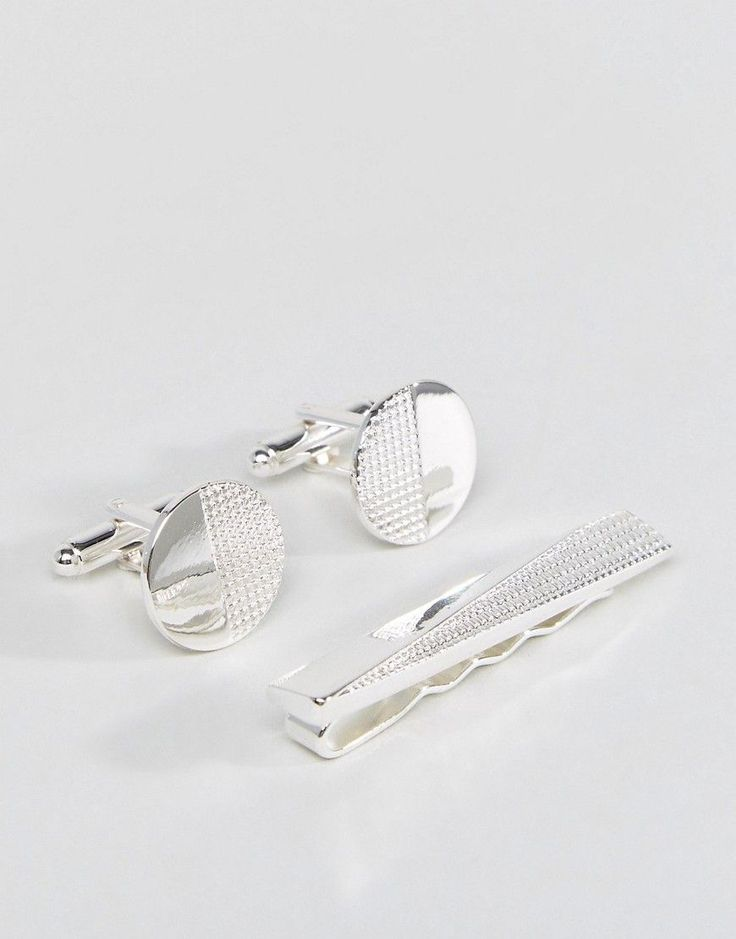 ASOS Gift Set With Geometric Tie Bar & Cufflinks - Silver