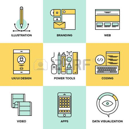 Flat line icons set of website user interface design web page coding and programming mobile apps dev Stock Vector