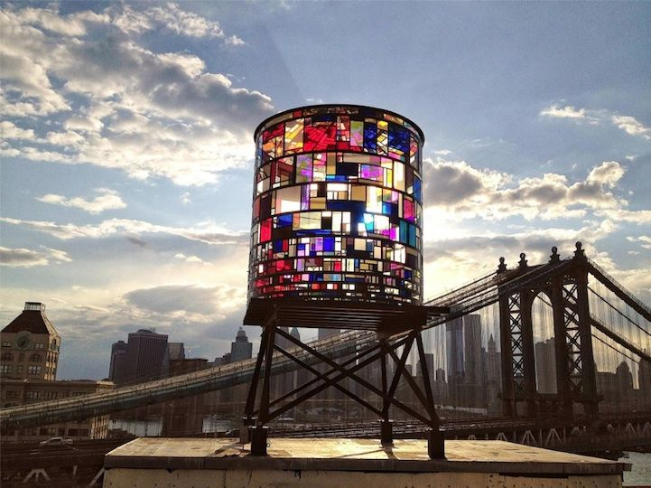 Stained Glass Watertower Sparkles Along Brooklyn's Skyline - My Modern MetropolisTom Fruin, Water Towers, Tomfruin, Stainedglass, New York Cities, Art, Glasses Water, Brooklyn, Stained Glasses