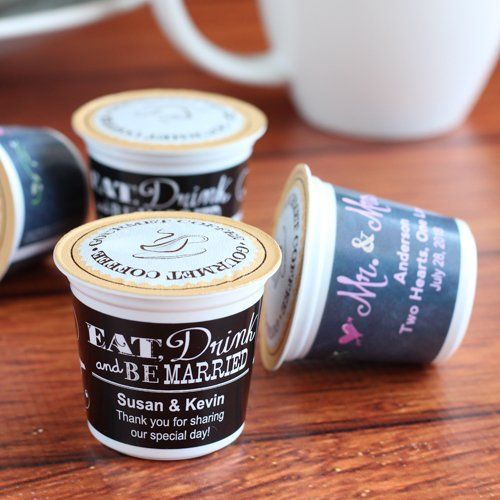 Personalized K-Cup Coffee Favors by Beau-coup - I love these! #coffee #wedding # favors