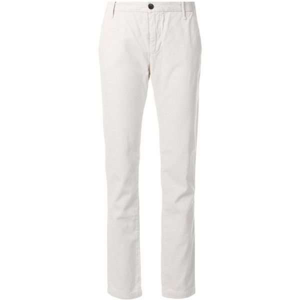 Bellerose cropped corduroy trousers (€78) ❤ liked on Polyvore featuring pants, capris, white cropped trousers, crop length pants, cropped pants, white trousers and cropped capri pants