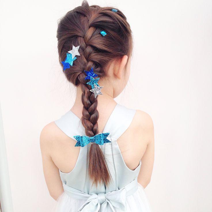 Elsa hair with handmade glitter bow and hair clips