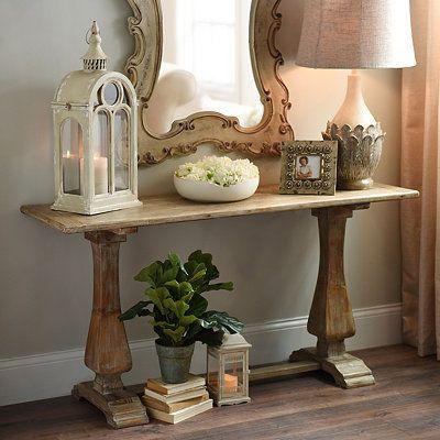 distressed natural pedestal console table wooden trestle. Black Bedroom Furniture Sets. Home Design Ideas
