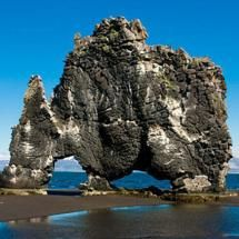 Hvitserkur Rock, Iceland. 50-foot-tall piece of former volcano just off of Iceland\'s northern shore.  The Icelandic name, Hvitserkur, means...