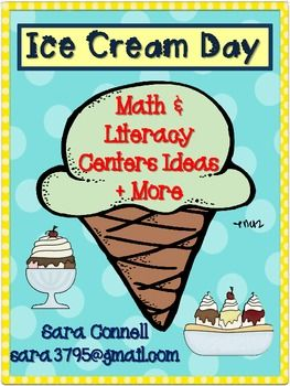 The last 10 days of school in my classroom are spent doing special activities.  One day we do all ice cream acitivities.  In this pack, you will find:A list of titles of ice cream booksAn ABC center:  Students will put ice cream flavors in ABC order and record on recording sheet.A synonym center.